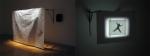 les yeux fermés,installation cinétique et sonore et vidéo de manon labrecque,mécanismes,images,corps,suspension,dessin