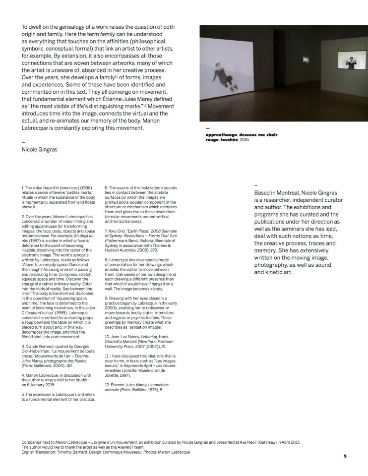 genealogy, text Nicole Gingras, expo Manon Labrecque, 2015