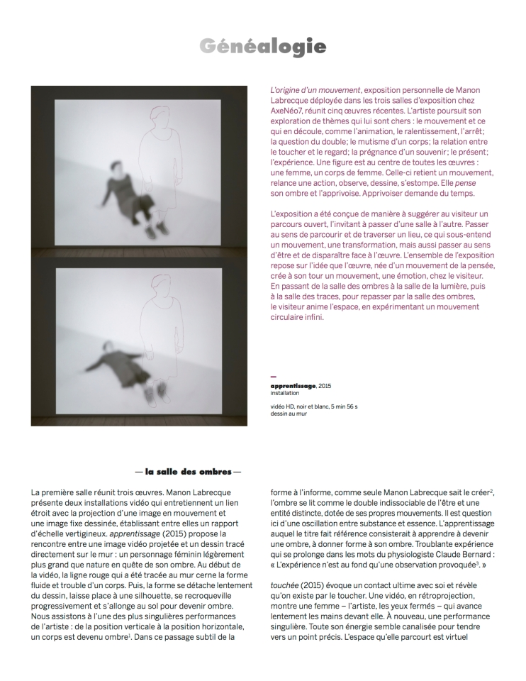 généalogie,texte Nicole Gingras, expo Manon Labrecque,2015